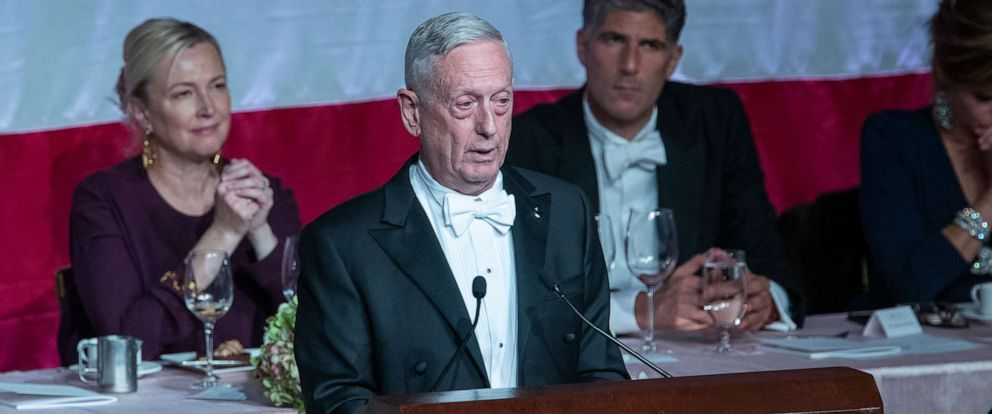 PHOTO: Former U.S. Secretary of Defense Jim Mattis, center, delivers the keynote address during the 74th Annual Alfred E. Smith Memorial Foundation Dinner, Thursday, Oct. 17, 2019, in New York.