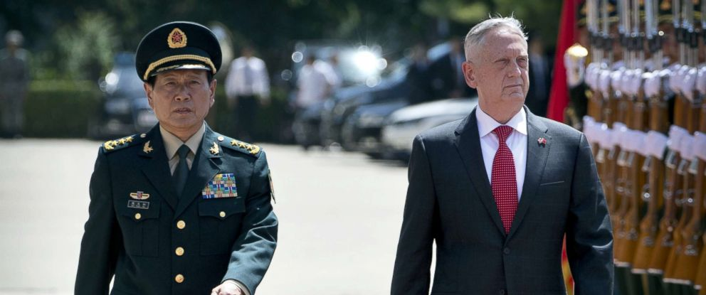 PHOTO: Chinas Defense Minister Wei Fenghe and Defense Secretary Jim Mattis review an honor guard during a welcome ceremony at the Bayi Building in Beijing, June 27, 2018.
