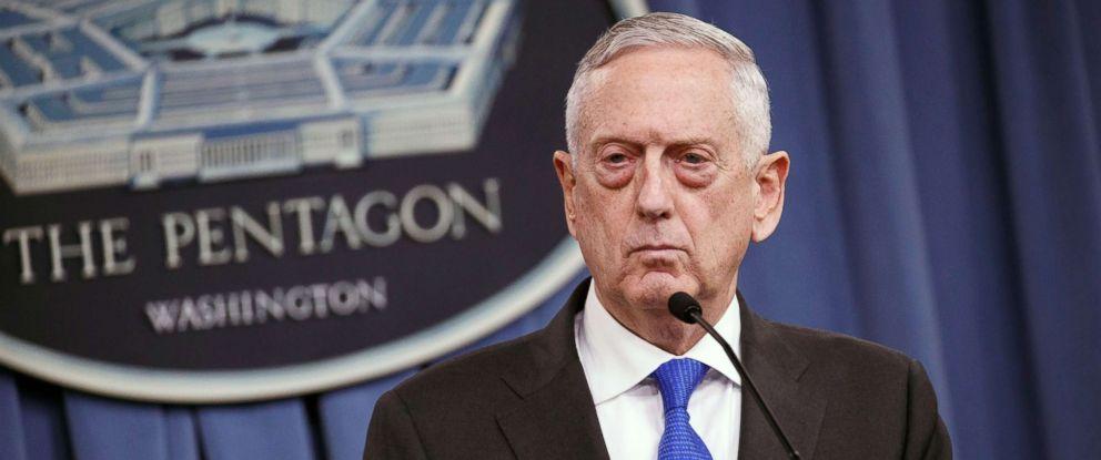 PHOTO: Secretary of Defense Jim Mattis speaks at a press conference at the Pentagon in Arlington, Va., Aug. 28,2018.