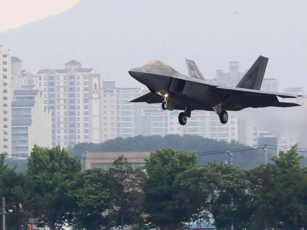 PHOTO: A U.S. F-22 Raptor stealth fighter jet lands as South Korea and the U.S. conduct the Max Thunder joint military exercise at an air base in Gwangju, South Korea, May 16, 2018.