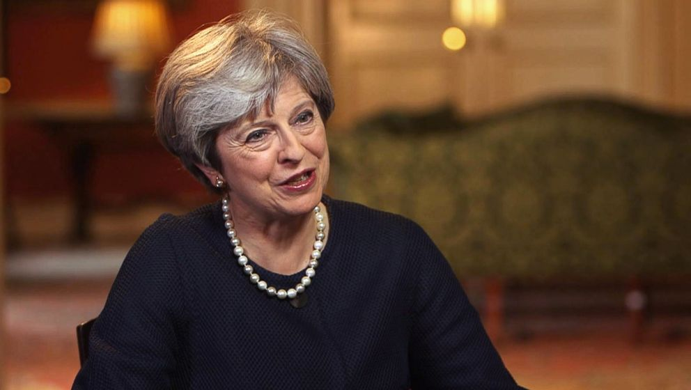 PHOTO: Prime Minister Theresa May speaks to ABC News chief anchor George Stephanopoulos in London in September 2017.