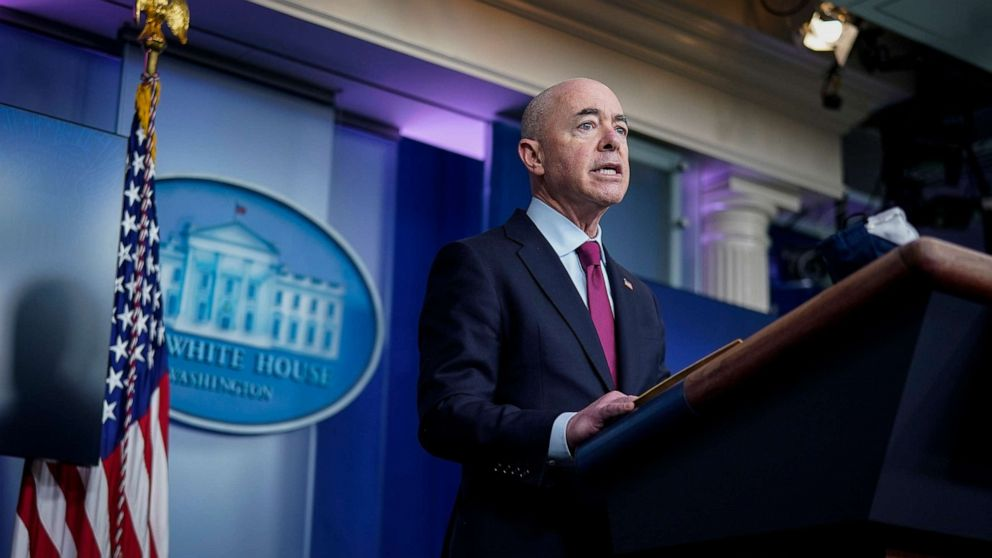 PHOTO: Secretary of Homeland Security Alejandro Mayorkas speaks during a press briefing at the White House on March 1, 2021, in Washington.
