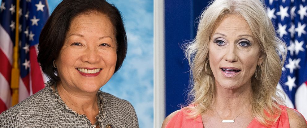 PHOTO: U.S. House of Representatives, Mazie Hirono (D-HI). Kellyanne Conway in the White House Press Briefing Room in Washington, Aug. 21, 2018.
