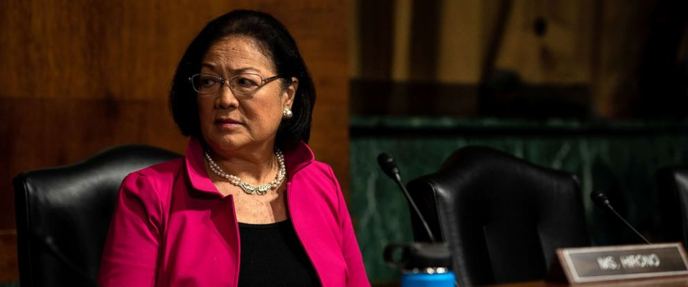 PHOTO: Sen. Mazie Hirono awaits the start of a Judiciary Committee hearing for testimony from Christine Blasey Ford and Supreme Court nominee Brett Kavanaugh at the Dirksen Senate Office Building on Capitol Hill in Washington, Sept. 27, 2018.