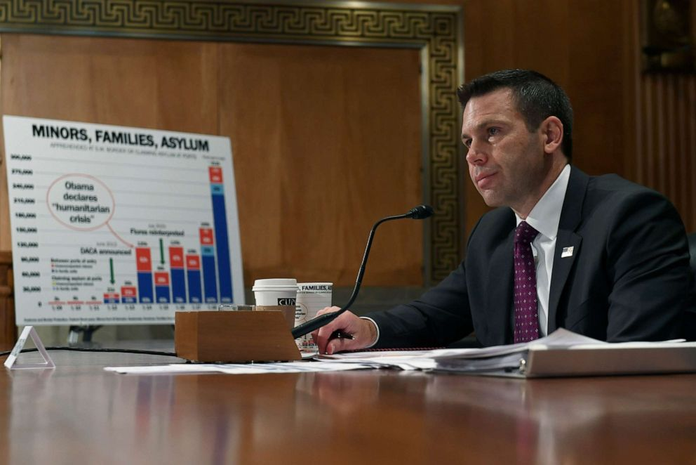 PHOTO: Acting Department of Homeland Security Secretary Kevin McAleenan testifies before the Senate Homeland Security Committee on Capitol Hill in Washington, D.C., May 23, 2019, during a hearing on border security.