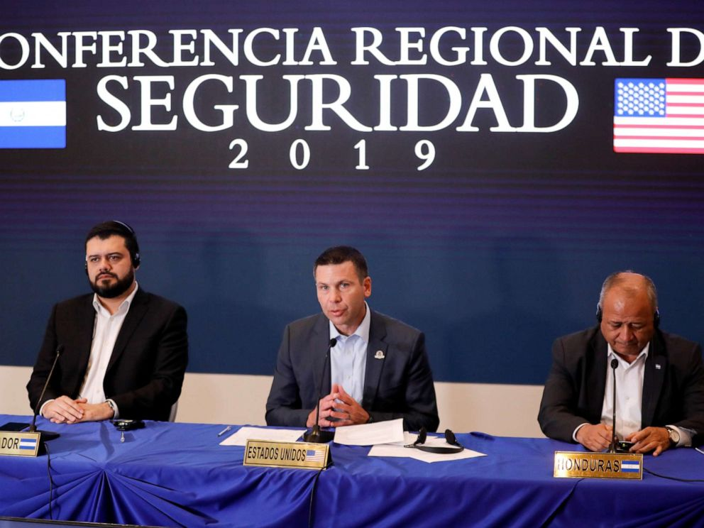 PHOTO: DHS Secretary Kevin McAleenan, El Salvadors Minister of Security Rogelio Rivas, and Honduran Minister of Security Julian Pacheco attend a news conference.