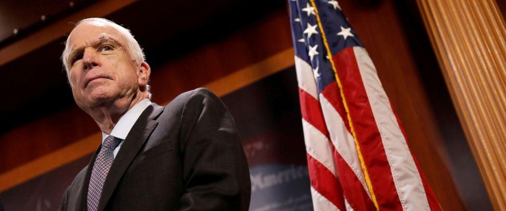 PHOTO: Senator John McCain attends a press conference on Capitol Hill in Washington, D.C., July 27, 2017.