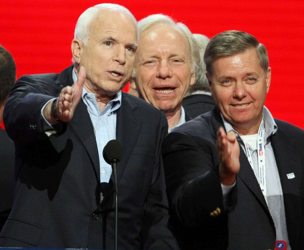 PHOTO: John McCain checks out the podium angles, along with Sen. Joseph Lieberman (center) and Sen. Lindsey Graham (R-SC), before the start of the Republican National Convention at the Xcel Energy Center in St. Paul, Minn., Sept. 4, 2008.