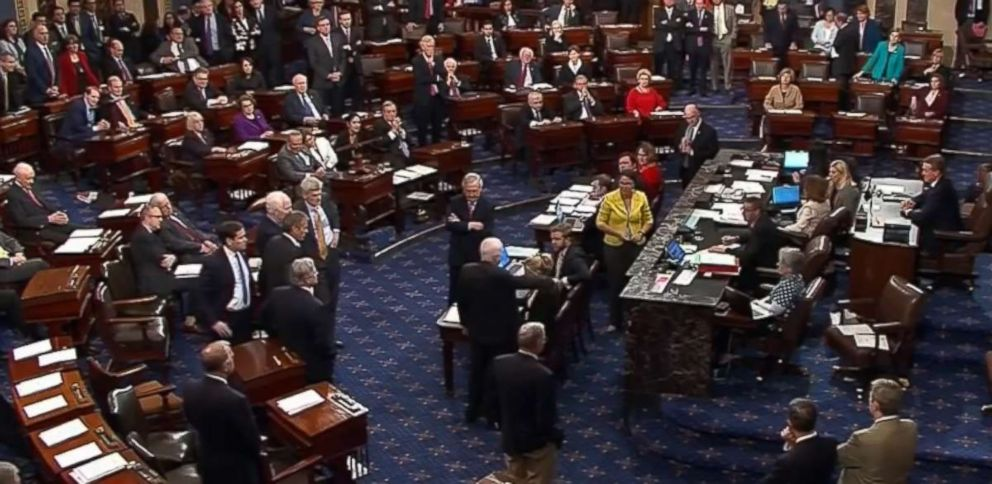PHOTO: Sen. John McCain (R-AZ) was one of three Republicans votes no on the amendment on a version of Obamacare reform, July, 28, 2017, at the Capitol