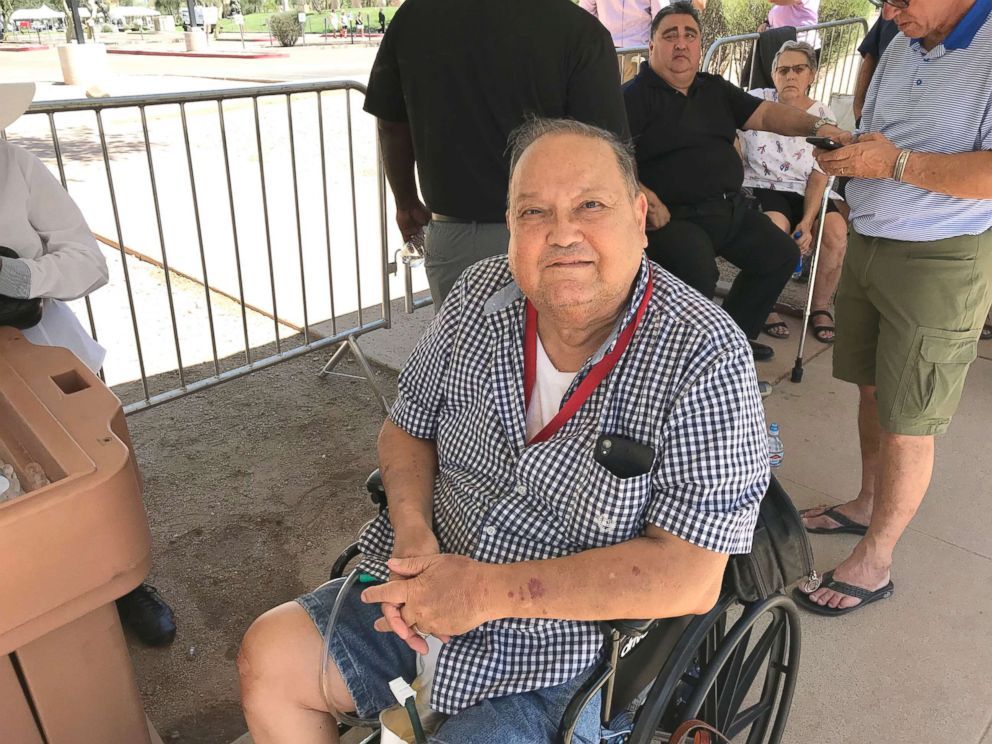 PHOTO: Frank Xavier Marcial and his wife drove for more than seven hours from their home in California to pay tribute to Sen. John McCain in Phoenix, Arizona, Aug. 29, 2018.