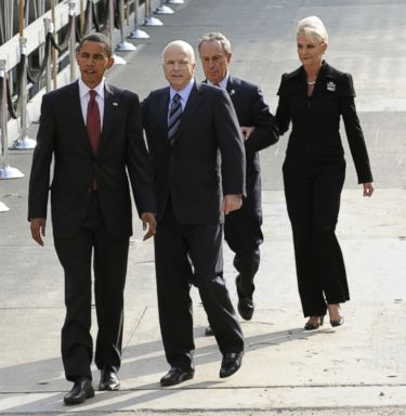 PHOTO: New York City Mayor Michael Bloomberg (back-L), presidential nominees Sen. Barack Obama and Sen. John McCain, and his wife Cindy descend to the reflecting pool as they visit Ground Zero on the 7th anniversary of the 9/11 attacks, Sept. 11, 2008.