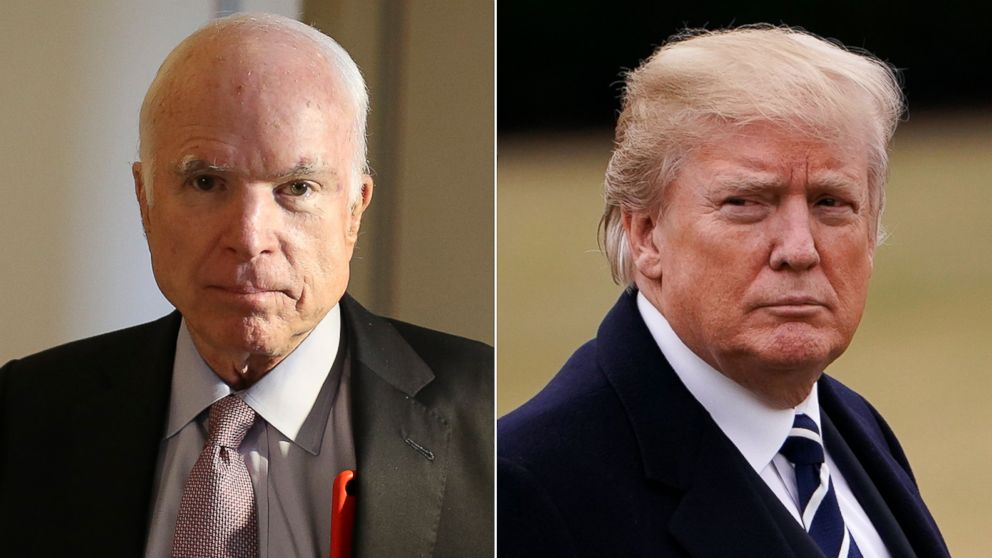 Pictured (L-R) are Sen. John McCain on Sept. 5, 2017 and President Donald Trump on Feb. 1, 2018, in Washington, D.C.