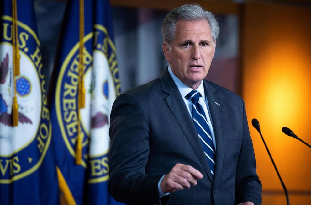 PHOTO: House Minority Leader Kevin McCarthy, R-Calif., holds a press conference on Capitol Hill, June 13, 2019.