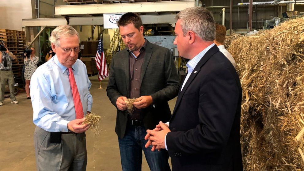 Senate Majority Leader Mitch McConnell, left, inspects a piece of hemp taken from a bale at a processing plant in Louisville, Ky., July 5, 2018.