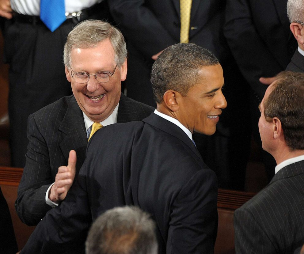 PHOTO: President Barack Obama is greeted by Senate Minority Leader Senator Mitch McConnell after Obama addressed a Joint Session of Congress on Sept. 8, 2011, on Capitol Hill in Washington.