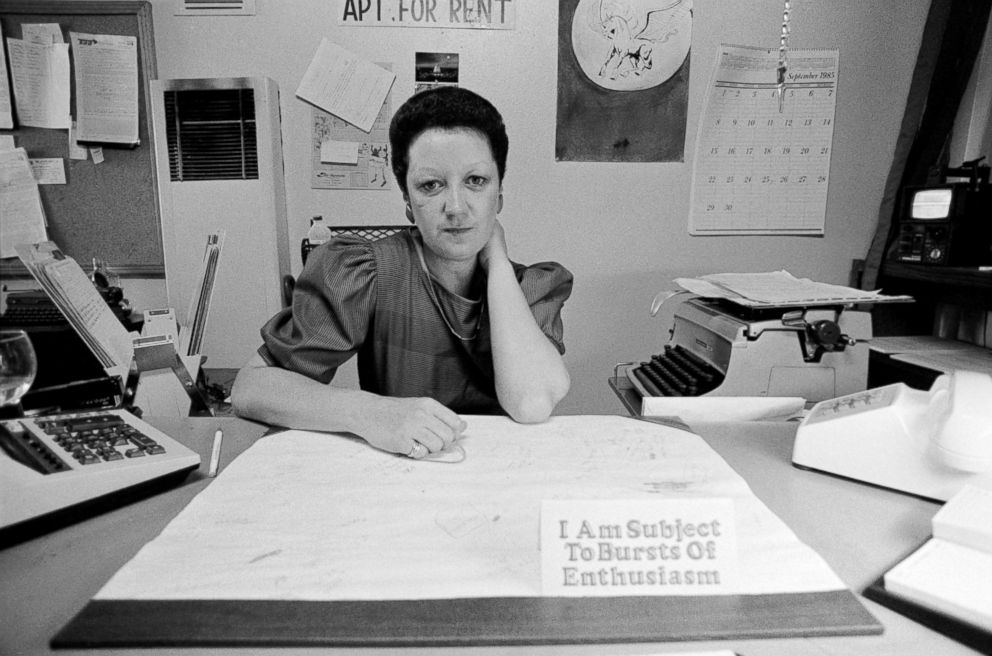 PHOTO: Norma McCorvey sits behind her desk in her office in Dallas, Texas, Sept. 1985.