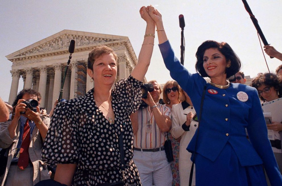 PHOTO: Norma McCorvey,left, known as Jane Roe in the 1973 Supreme Court case, with her attorney Gloria Allred as they leave the Supreme Court building after sitting in while the court listened to arguments in a Missouri abortion case, April 26, 1989.
