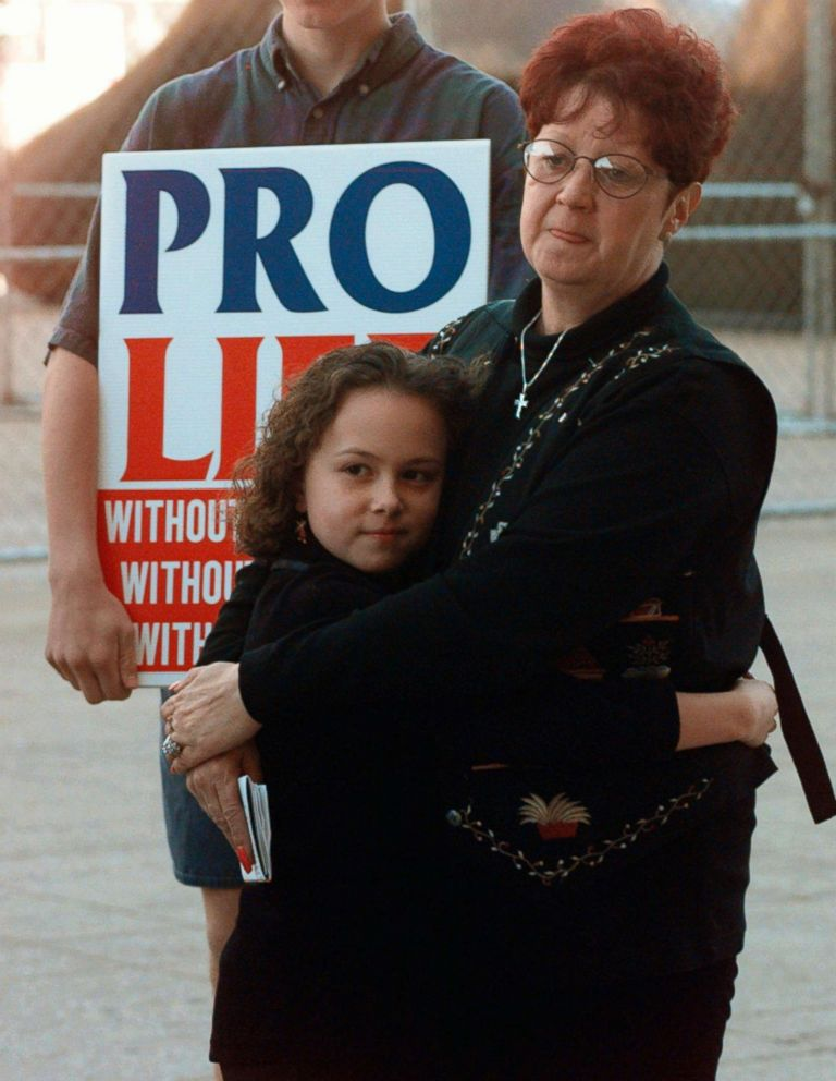 PHOTO: Norma McCorvey, right, known as Jane Roe in the landmark U.S. Supreme Court ruling, stands with a friend at an Operation Rescue rally in downtown Dallas, Jan. 22, 1997.