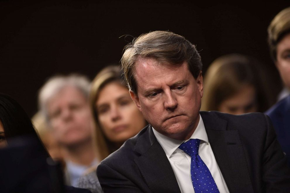 PHOTO: White House Counsel Don McGahn listens during a hearing of the Senate Judiciary Committee on the nomination of Brett Kavanaugh to the Supreme in Washington, D.C., Sept. 4, 2018.