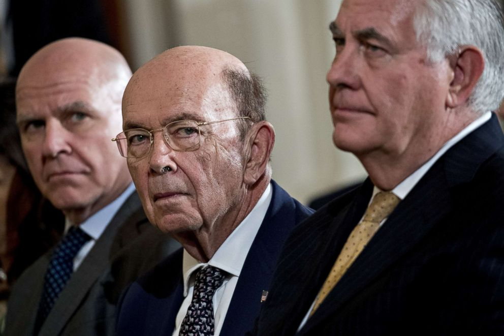 PHOTO: National Security Advisor H.R. McMaster, U.S. Commerce Secretary Wilbur Ross and U.S. Secretary of State Rex Tillerson listen during a news conference, March 6, 2018, in Washington, DC.