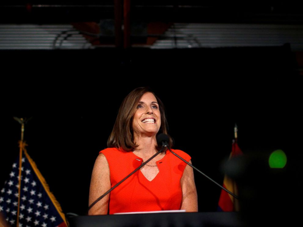 PHOTO: Martha McSally greets her supporters on election night after winning the Republican primary for the open Senate seat in Tempe, Ariz. Aug. 28, 2018.