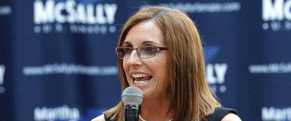 PHOTO: Rep. Martha McSally, R-Ariz., speaks during a news conference at a campaign event for her Senate primary race, Aug. 15, 2018, in Phoenix.