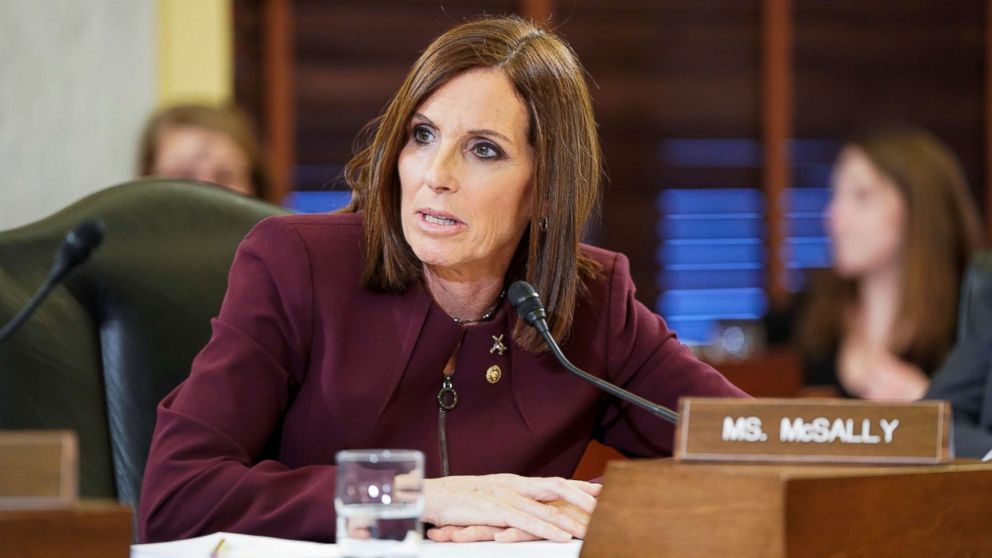 PHOTO: Senator Martha McSally (R-AZ) speaks during a Senate Armed Subcommittee hearing on preventing sexual assault where she spoke about her experience of being sexually assaulted in the military on Capitol Hill, March 6, 2019.