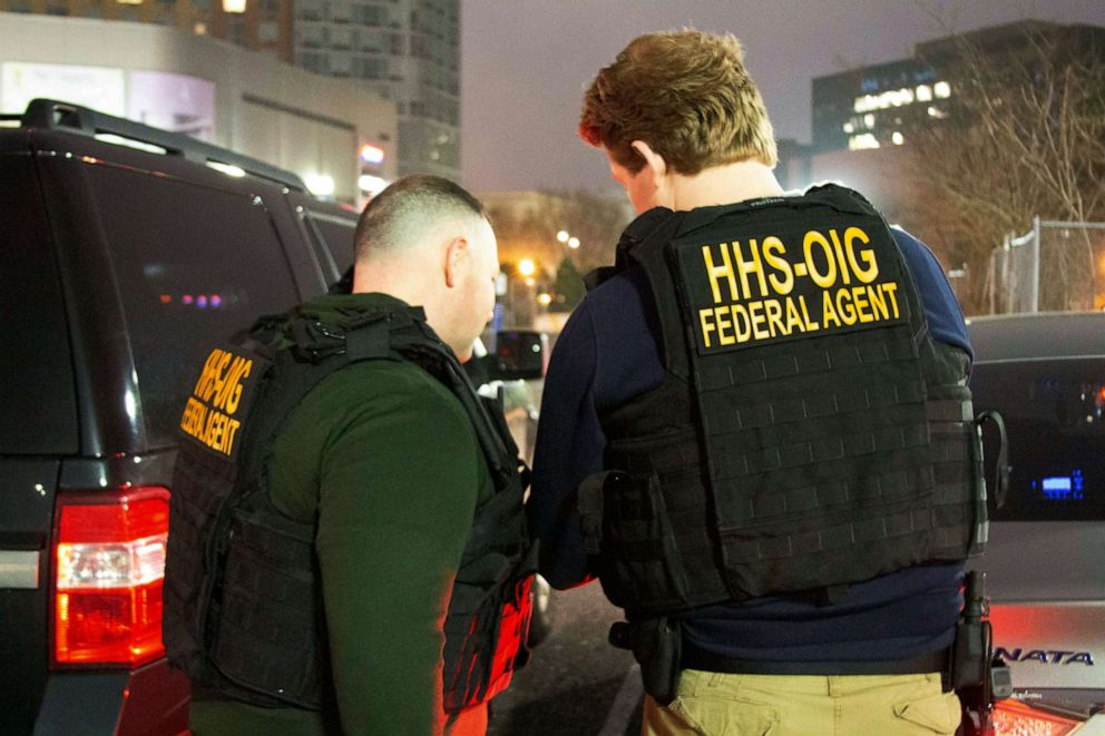 HHS Office of Inspector General agents take part in arrests on April 9, 2019, in Queens, N.Y., as they break up a billion-dollar Medicare scam that peddled unneeded orthopedic braces to hundreds of thousands of seniors nationwide.
