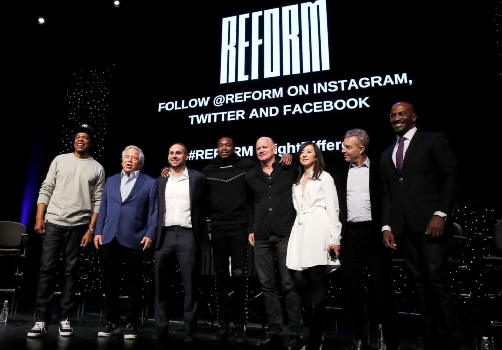 "The founding partners of ""Reform Alliance"", a newly formed organization to reform the U.S. criminal justice system, (L-R) Shawn ""Jay-Z"" Carter, Robert Kraft, Michael Rubin, Meek Mill, Michael E. Novogratz, Clara Wu Tsai, Daniel S. Loeb and Reform Alliance CEO Van Jones pose together at the Reform Alliance launch event in New York, Jan. 23, 2019."