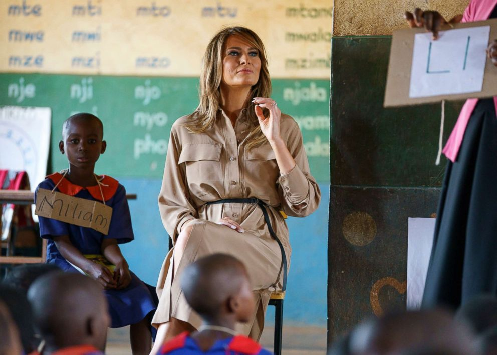 First lady Melania Trump sits at the front of a language class as she visits Chipala Primary School, in Lilongwe, Malawi, Oct. 4, 2018.