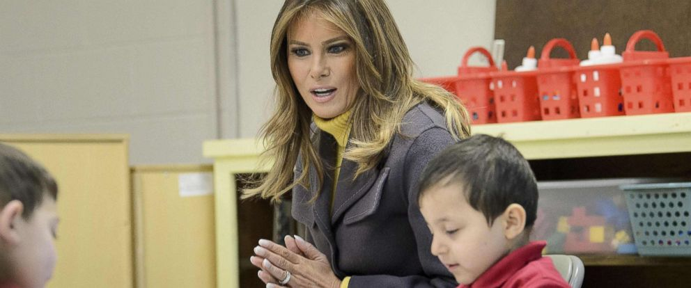 "PHOTO: First Lady Melania Trump visits a prekindergarten class at the Dove School of Discovery, March 4, 2019, in Tulsa, Okla. The First Lady is travelling to Oklahoma, Washington, and Nevada as part of her ""Be Best"" tour."