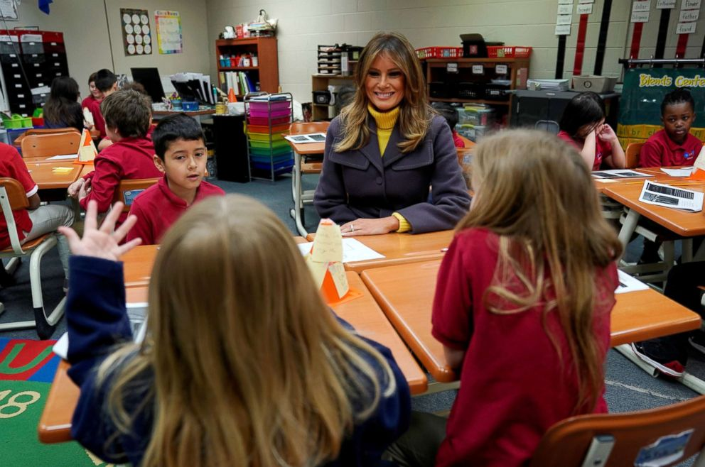 PHOTO: First lady Melania Trump visits the Dove School of Discovery during a two-day, three-state tour promoting her Be Best initiative in Tulsa, Okla., March 4, 2019.