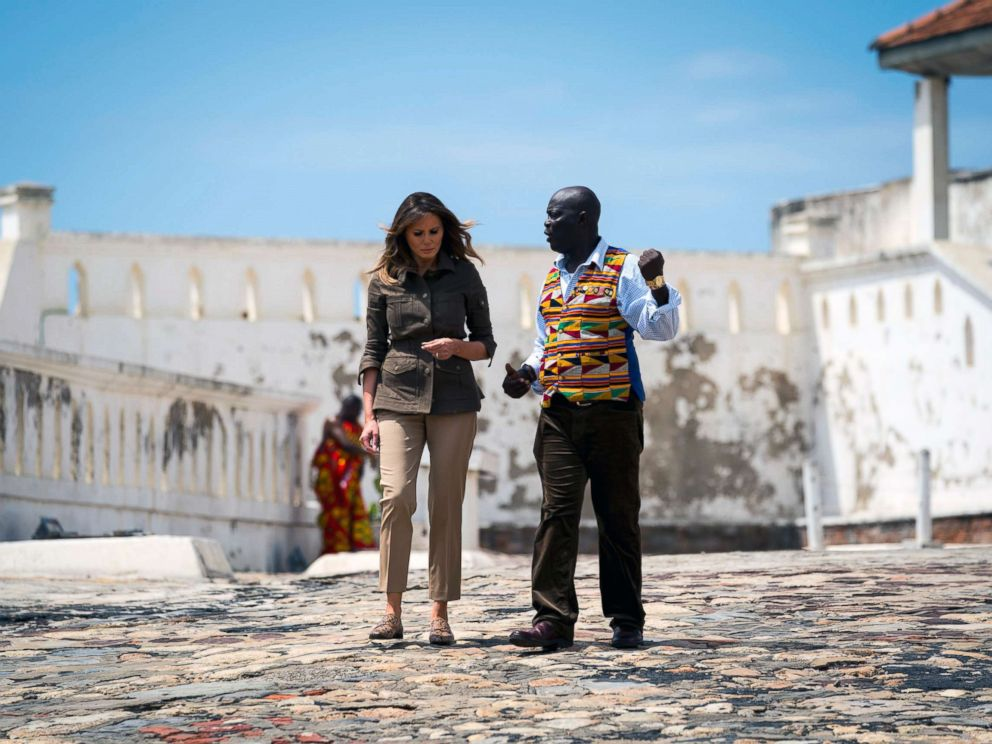 PHOTO: Accompanied by museum educator Kwesi Essel-Blankson, first lady Melania Trump tours the Cape Coast Castle in Cape Coast, Ghana, one of dozens of hubs of the transatlantic slave trade, Oct. 3, 2018 during her trip to four African countries.