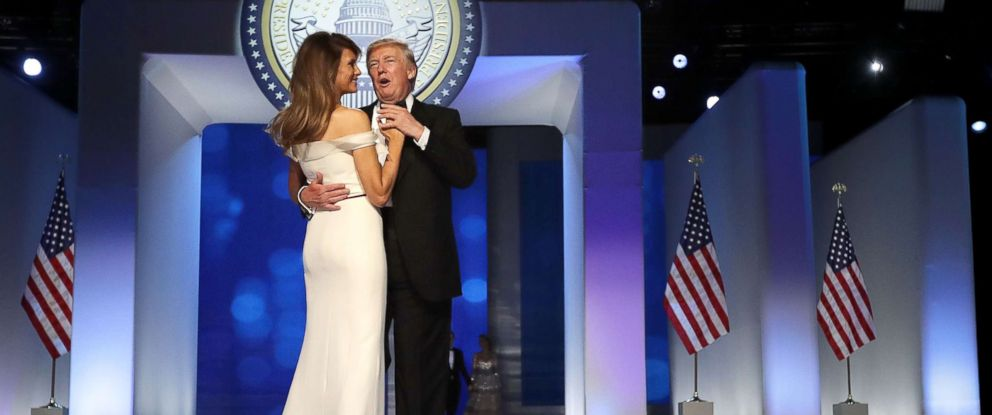 PHOTO: President Donald Trump and first lady Melania Trump dance during the Freedom Ball at the Washington Convention Center Jan. 20, 2017 in Washington.