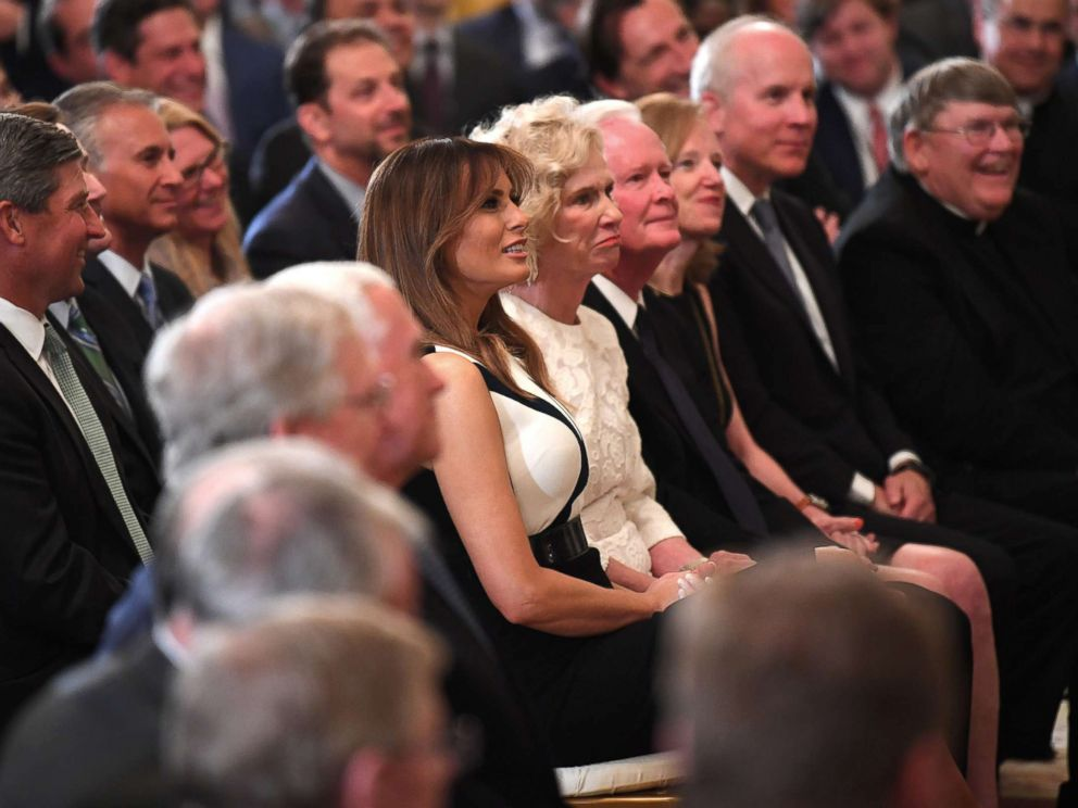 PHOTO: First lady Melania Trump sits next to Martha Kavanaugh, mother of Supreme Court nominee Brett Kavanaugh, during the announcement of his nomination by President Donald Trump at the White House, July 9, 2018.