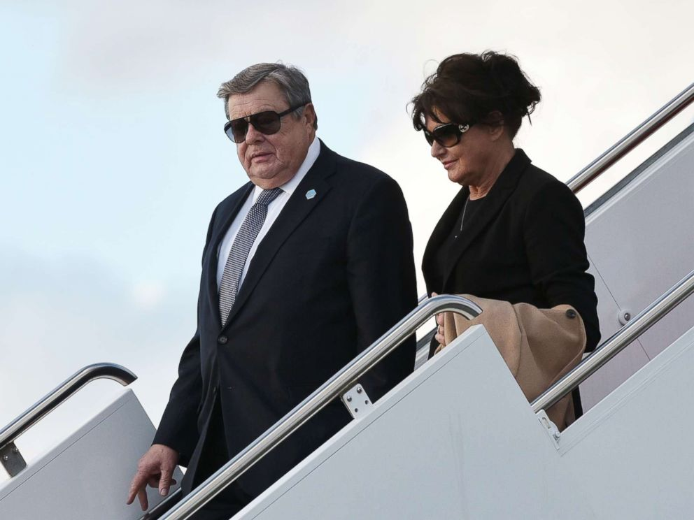 PHOTO: Viktor and Amalija Knavs, the parents of Melania Trump, step off Air Force One upon arrival at Palm Beach International Airport in West Palm Beach, Fla., March 17, 2017.