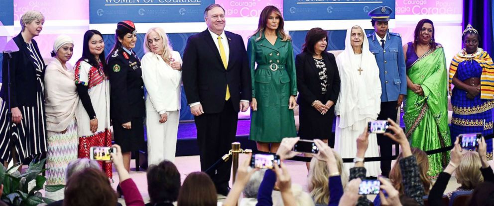 PHOTO: U.S. Secretary of State Mike Pompeo and First Lady Melania Trump pose with recipients of the 2019 International Women of Courage awards during a ceremony in Washington, D.C., March 7, 2019.