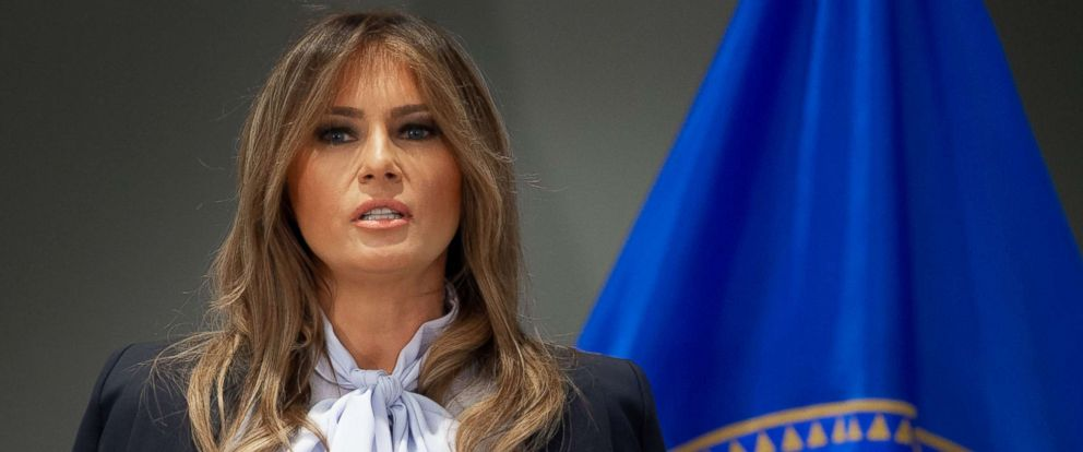 """PHOTO: Melania Trump speaks during the Federal Partners in Bullying Prevention (FPBP) Cyberbullying Prevention Summit at the US Health Resources and Services Administration building in Rockville, Maryland, Aug. 20, 2018, as part of her """"Be Best"""" campaign."""