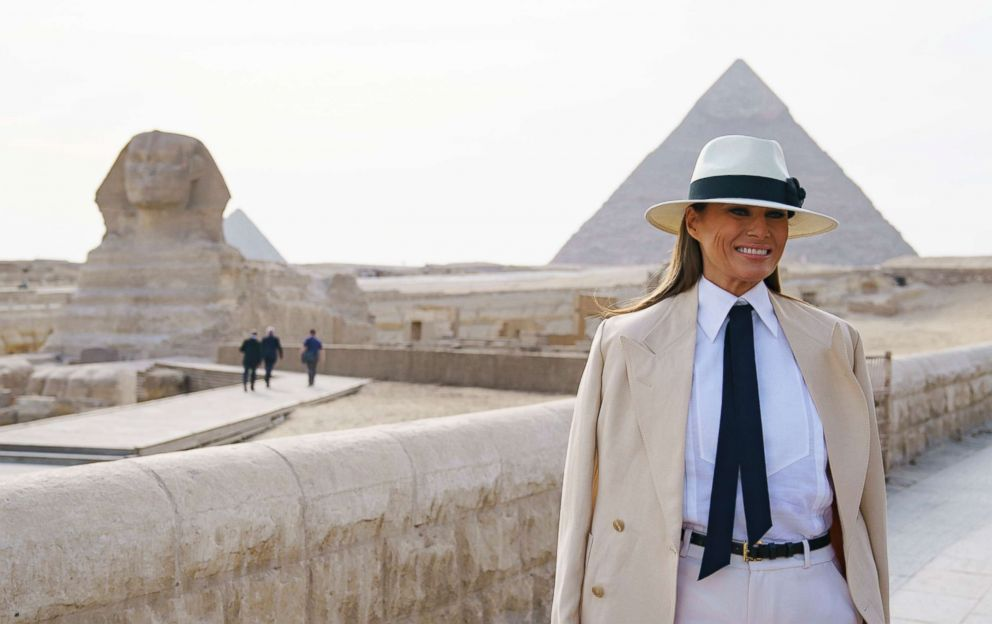 PHOTO: First lady Melania Trump visits the ancient statue of Sphinx, with the body of a lion and a human head, at the historic site of Giza Pyramids in Giza, near Cairo, Egypt, Oct. 6, 2018.