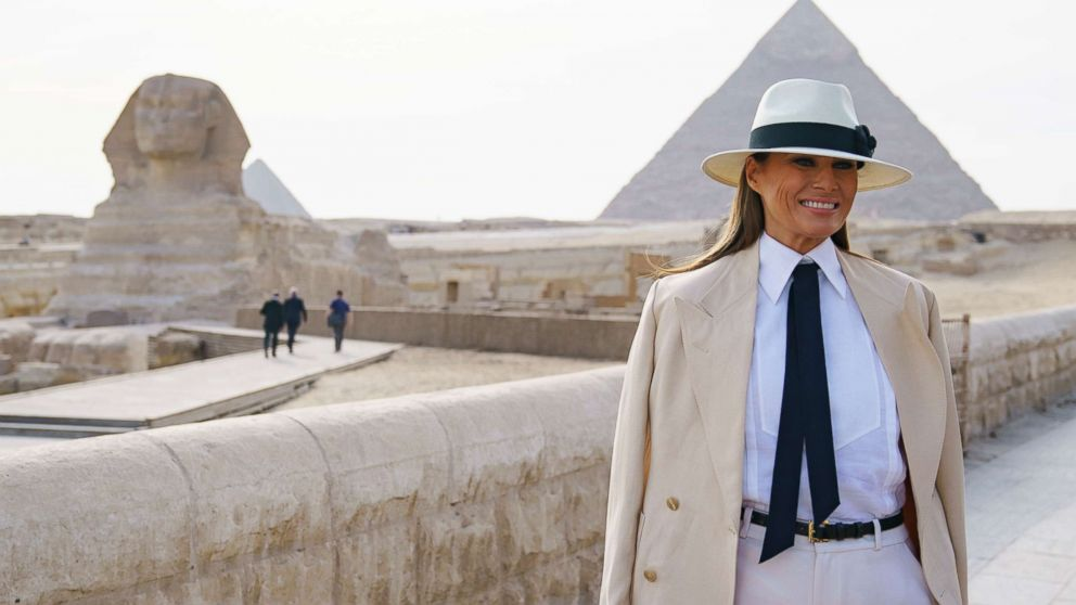 First lady Melania Trump visits the ancient statue of Sphinx, with the body of a lion and a human head, at the historic site of Giza Pyramids in Giza, near Cairo, Egypt, Oct. 6, 2018.