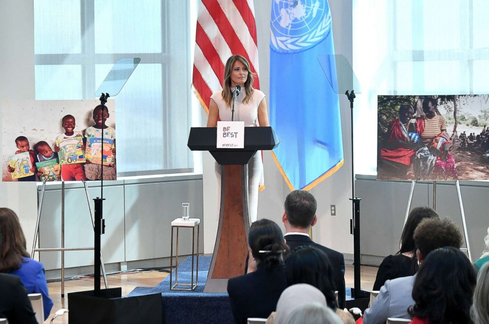 First lady Melania Trump hosts a reception in honor of United Nations General Assembly attendees at the U.S mission to the United Nations in New York City, Sept. 26, 2018.
