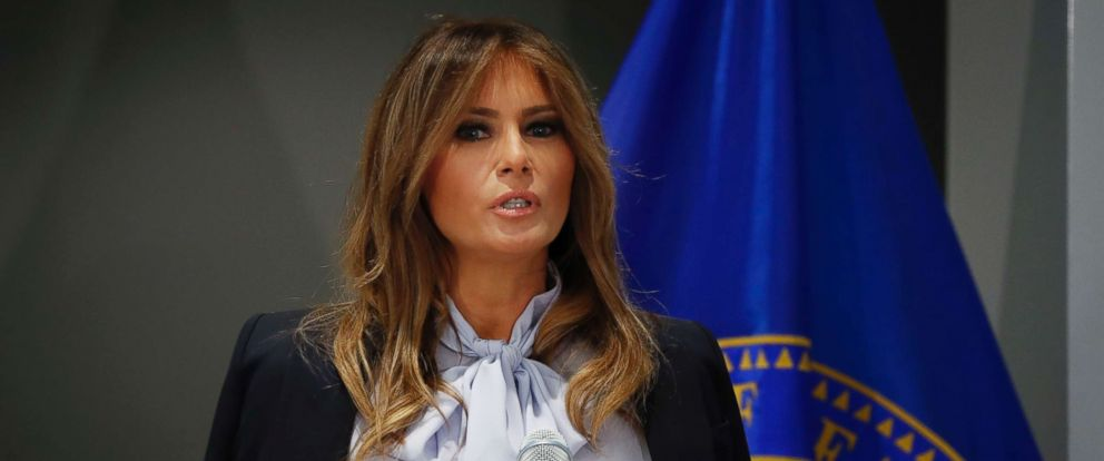 PHOTO: First lady Melania Trump speaks as she attends the 6th Federal Partners in Bullying Prevention (FPBP) Summit at Health and Human Service in Rockville, Md., Aug. 20, 2018.