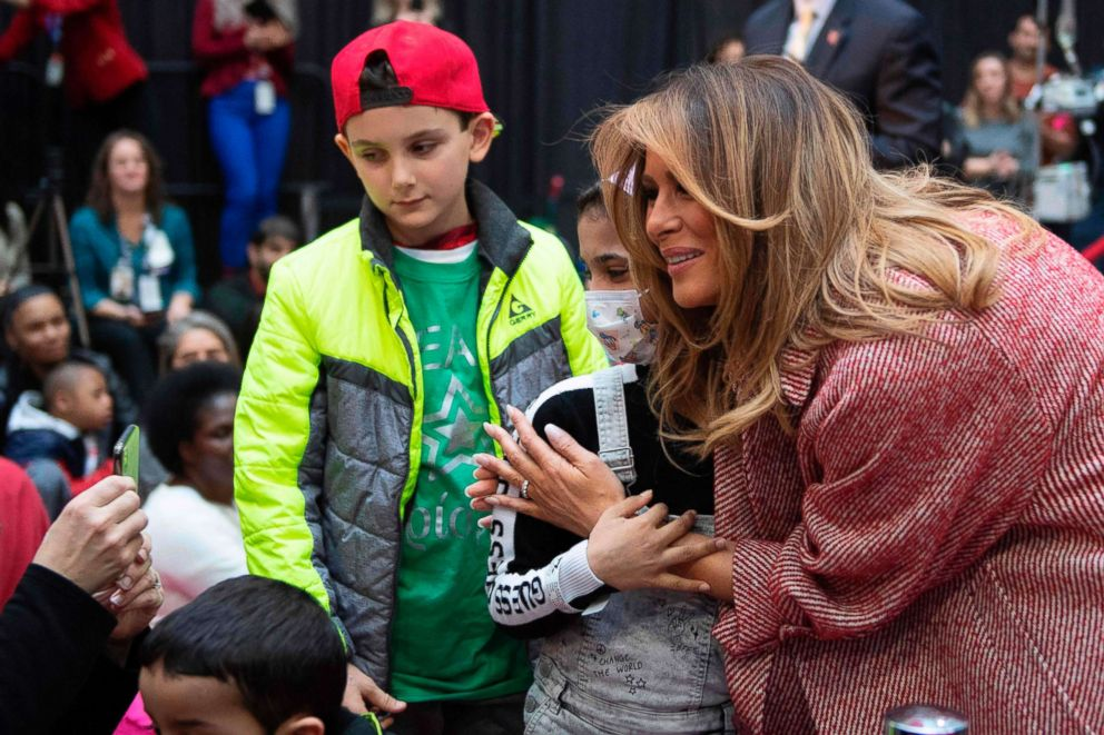 PHOTO: First lady Melania Trump visits children at Childrens National Hospital in Washington, DC, Dec. 13, 2018.