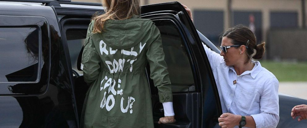 "PHOTO: First Lady Melania Trump departs Andrews Air Force Base in Maryland, June 21, 2018, wearing a jacket emblazoned with the words ""I really dont care, do u?"""