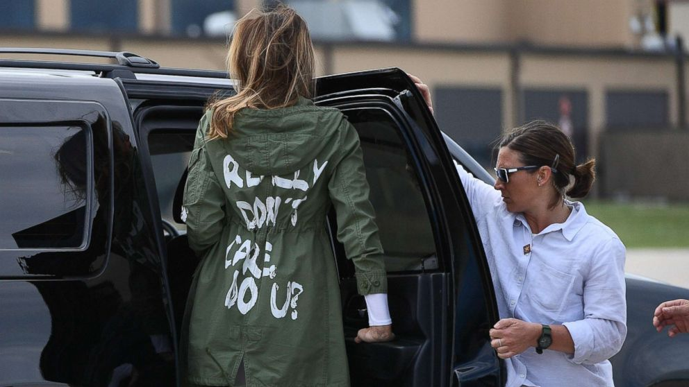 First lady wears jacket to visit border that reads 'I REALLY DON'T CARE, DO U?'