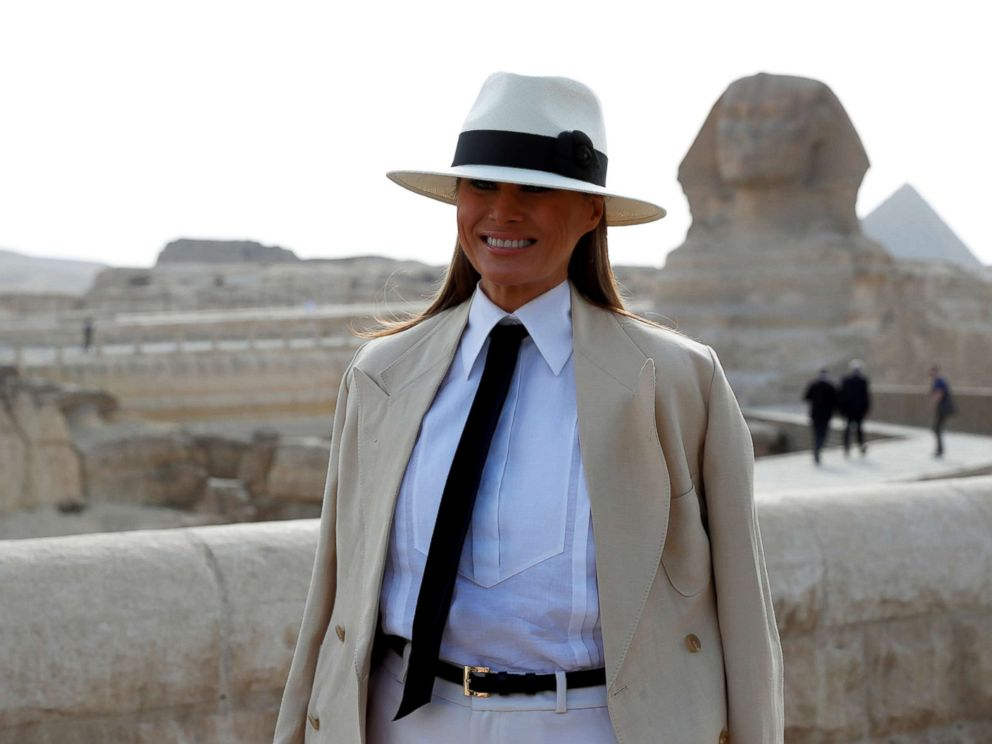 PHOTO: First lady Melania Trump stands in front of the Sphinx as she visits the Pyramids in Cairo, Egypt, Oct. 6, 2018.