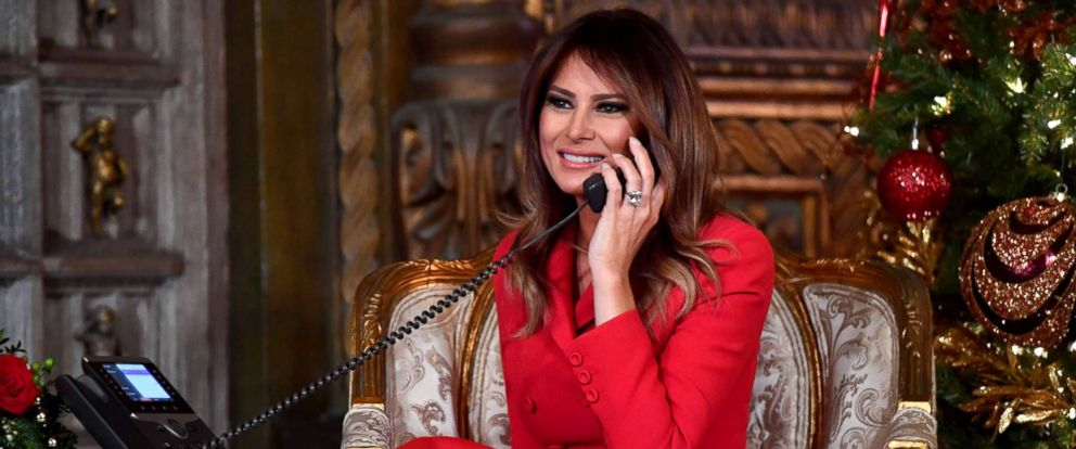 PHOTO: First Lady Melania Trump participates in NORAD Santa Tracker phone calls at the Mar-a-Lago resort in Palm Beach, Florida, Dec. 24, 2017.