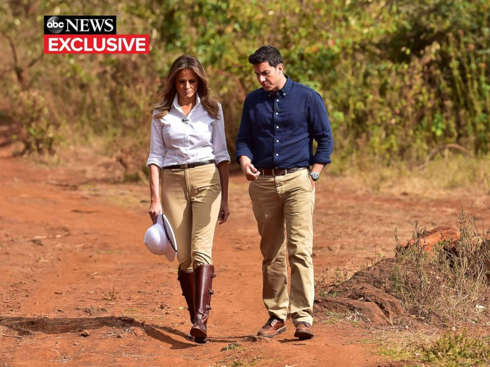 PHOTO: First lady Melania Trump gives an interview to ABC News Tom Llamas.