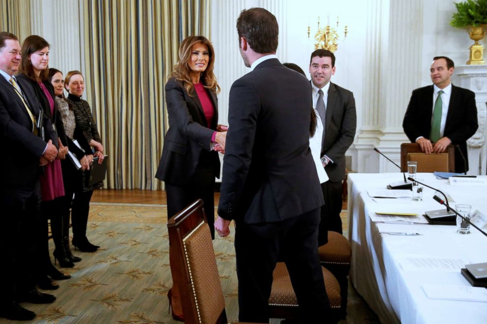 PHOTO: First lady Melania Trump arrives to host a round table discussion with tech leaders on the effects of the Internet on children at the White House, March 20, 2018.