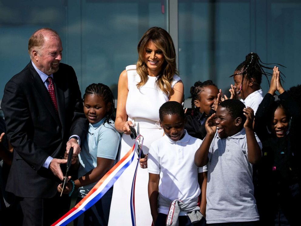 PHOTO: First lady Melania Trump greets fourth-graders during a ribbon cutting and ceremonial ride to the top, to celebrate the re-opening of the Washington Monument in Washington, Sept. 19, 2019.